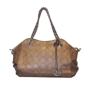 Michael Michelle 12 x 12 1/2 x 4 1/2 Gayle Diamond Etched Satchel With Chain, Brown