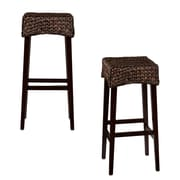 "SEI 30"" Water Hyacinth Bar Stool, Brown, 2/Set (BC0250)"