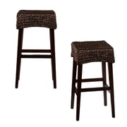 SEI 26 1/2 Solid Pine Pair Water Hyacinth Bar Stool, Dark Brown, 2-Piece/Set