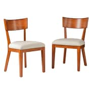 SEI Paolo 2-Piece Faux Leather Dining Chair Set, Pecan Brown/Cream