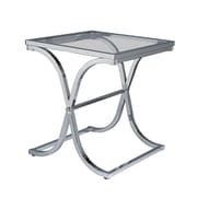 "SEI Vogue 24"" Metal End Table With Glass Top, Chrome"