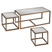 SEI Nested Mirrored Glass Cocktail/End Table Set, Antique Bronze, 3-Piece/Set