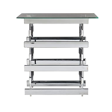 SEI Hoxley Glass End Table, Chrome, Each (CK7372)