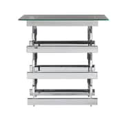 SEI Hoxley 20 1/4 Metal End Table With Glass Top, Chrome