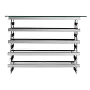 SEI Hoxley 29 1/2 Metal Console Table With Glass Top, Chrome