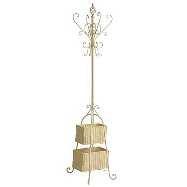 SEI Metal Hall Tree With Rattan Storage, 72 1/2