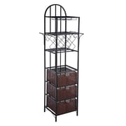 SEI 81 1/2 Metal Kitchen Storage Tower, Black/Espresso
