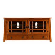 SEI San Santo TV/Media Stand With Glass Doors, Brown Mahogany