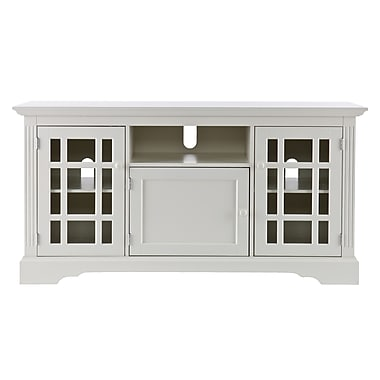 SEI Cullerton TV/Media Stand With Glass Doors, Off-White