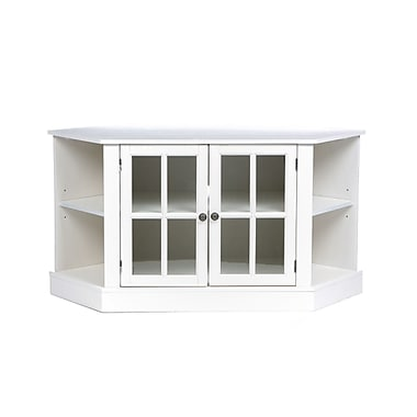 SEI Thomas Corner Media Stand With Glass Doors, White