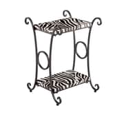 SEI 26 Zebra Animal Print Metal Accent Table