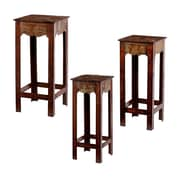 SEI Jambi Accent Table Set, Brick Red, 3-Piece/Set