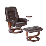 "SEI 40"" x 28 1/2"" Bonded Leather Recliner and Ottoman Set, Cafe Brown"