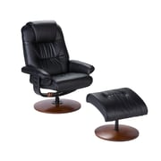 SEI UP4903RC Leather Recliner and Ottoman, Black