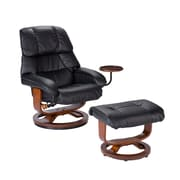 "SEI 40 1/2"" x 33"" Bonded Leather Recliner and Ottoman Set"
