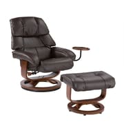 "SEI 40 1/2"" x 33"" Bonded Leather Recliner and Ottoman Set, Cafe Brown"