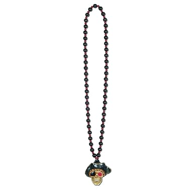 Beads with Flashing Pirate Skull Medallion, 36