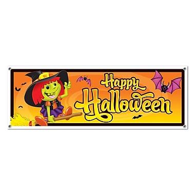 Bannière « Happy Halloween », 5 pi x 21 po, paq./3