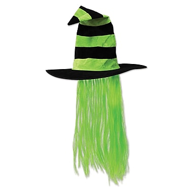 Witch Hat with Hair, One size fits most, Lime green, 2/pack