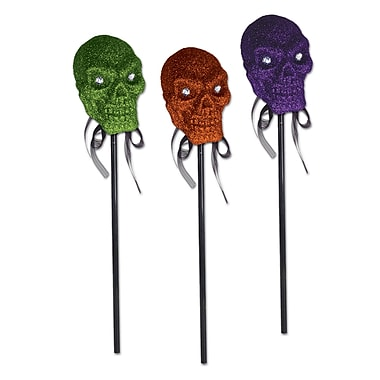 Glittered Plastic Skull On A Stick, 16