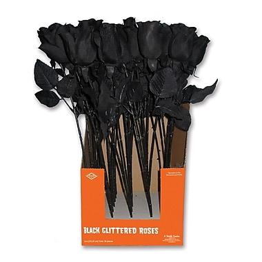 Glittered Black Roses, 24