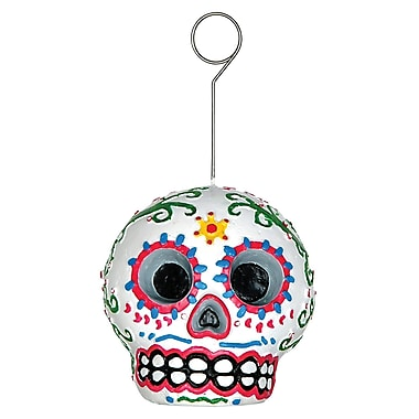 Day Of The Dead Male Photo/Balloon Holder, Each balloon weight is 6 ounces, 3/pack