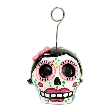 Day Of The Dead Female Photo/Balloon Holder, Each balloon weight is 6 ounces, 3/pack