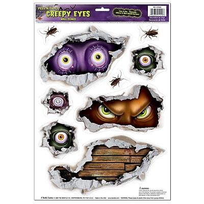 """""""Beistle 12″"""" x 17″"""" Creepy Eyes Peel 'N Place Sticker, 36/Pack"""""""