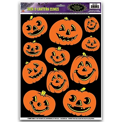 """Beistle 12″"" x 17″"" Jack-O-Lantern Clings, 77/Pack"""