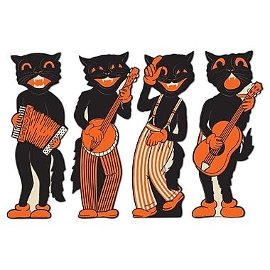 Découpes quatuor chats musiciens, 17 po, paq./8