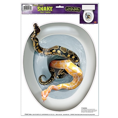 """Beistle 12″"" x 17″"" Snake Toilet Topper Peel 'N Place Sticker, 4/Pack"""