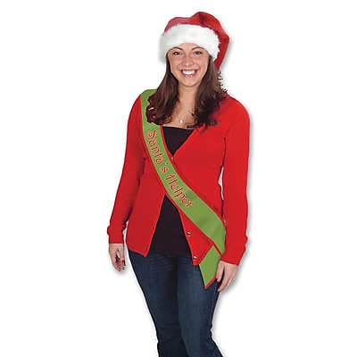 """""Beistle 33"""""""" x 4"""""""" Santas Helper Satin Sash, Red/Green"""""" 1066630"