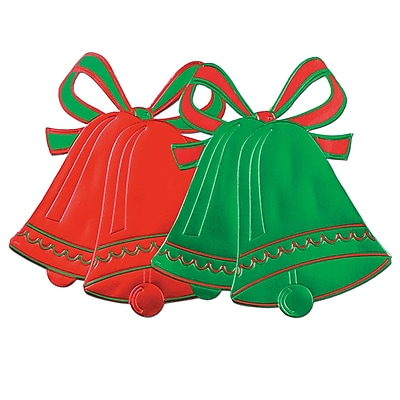 """""Beistle 16 1/2"""""""" Foil Christmas Bell Silhouettes, Red/Green, 24/Pack"""""" 1066333"