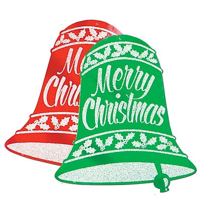 """""Beistle 18"""""""" x 16"""""""" Glittered Christmas Bell Sign, Red/Green, 12/Pack"""""" 1066248"