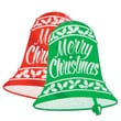 Beistle 18in. x 16in. Glittered Christmas Bell Sign, Red/Green, 12/Pack