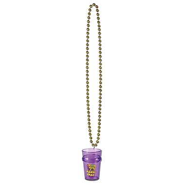 Beistle Beads Necklace With Mardi Gras Glass, 33