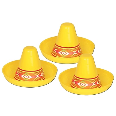 Miniature Yellow Plastic Sombrero, 4-1/2