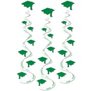 "Beistle 30"" Printed Grad Cap Whirls, Green, 9/Pack"
