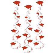 "Beistle 30"" Printed Grad Cap Whirls, Red, 9/Pack"