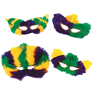 Mardi Gras Fanci-Feather Masks, One Size Fits Most, Green/Gold/Purple, 12/Pack