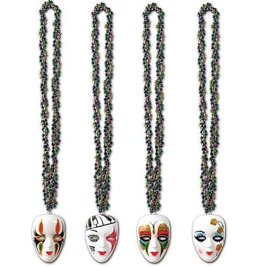 Perles tressées avec médaillons mime, 36 po, paq./ 12