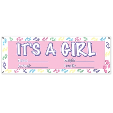 It's A Girl Pink Sign Banner, 5', 3
