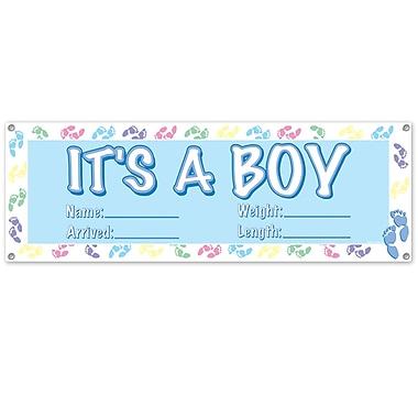 Affiche bannière bleu pâle « It's A Boy », 5 pi 3 po x 21 po, 3/paquet