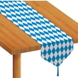 Beistle 11in. x 6' Printed Oktoberfest Table Runner, Bright Blue/White, 4/Pack