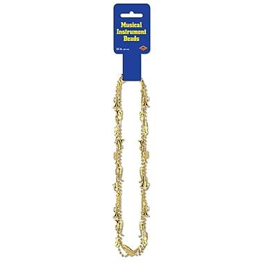 Colliers de perles avec instruments de musique, 33 po, doré, 18/paquet