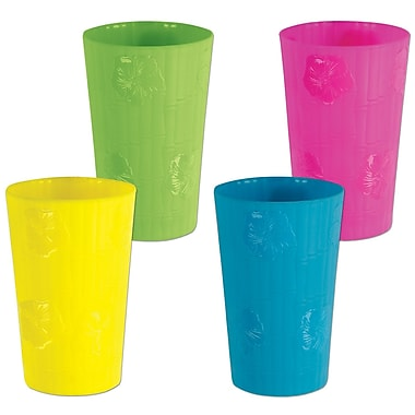 Beistle Plastic Bamboo & Hibiscus Tumblers, Assorted, 12/Pack