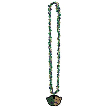 Beistle Braided Beads Necklace With Comedy and Tragedy Medal, 33