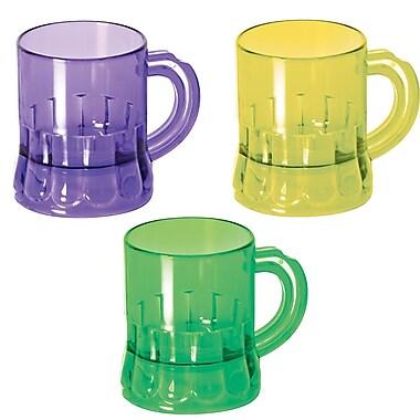 Mardi Gras Mug Shots , 3 Ounces, Green/Gold/Purple, 24/Pack