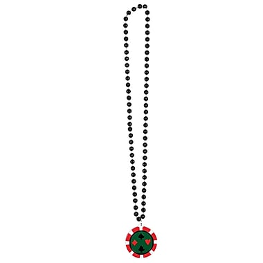 Beistle Beads Necklace With Poker Chip Medallion, 36