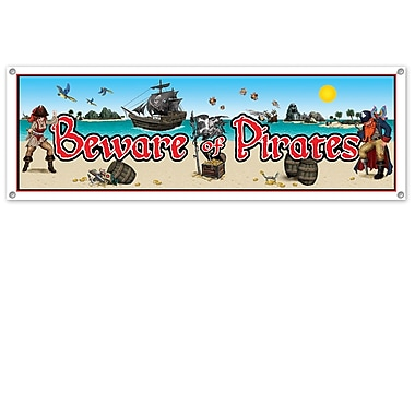 Bannière « Beware Of Pirates », 5 po x 21 pi, 3/paquet